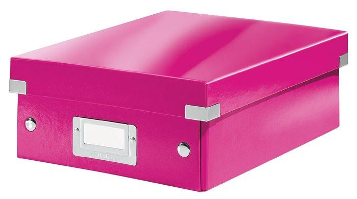 """Odkladací box, organizačný, PP, kartón, veľkosť:S, LEITZ """"Click&Store"""", ružový"""