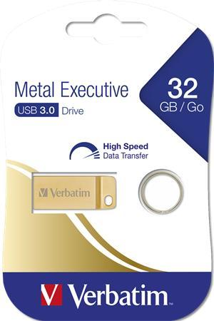 "USB kľúč, 32GB, USB 3.0,  VERBATIM ""Executive Metal"" zlatá"