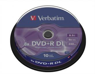 "DVD+R 8,5 GB, 8x, dvojvrstvové, cake box, VERBATIM ""Double Layer"""