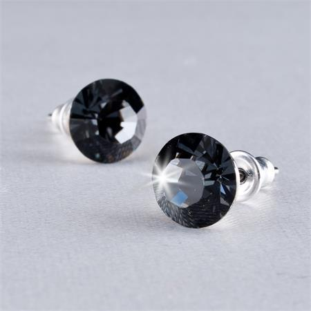 "ART CRYSTELLA Náušnice, ""MADE WITH SWAROVSKI ELEMENTS"",  black diamond, 8 mm"